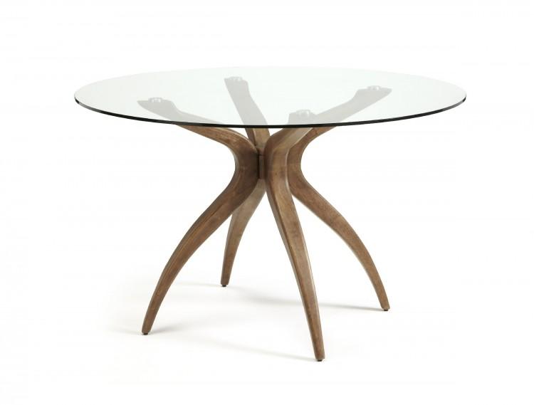 Serene Islington Glass And Walnut Round Dining Table By Serene - Round glass dining table with wooden legs