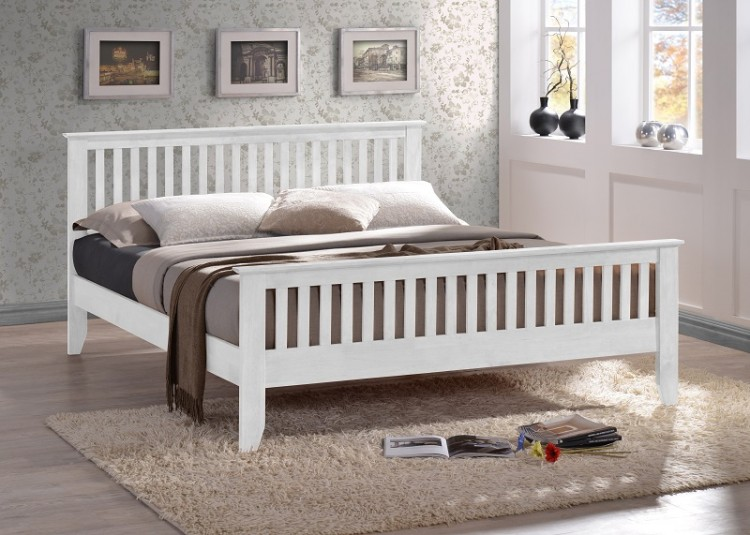 time living turin 4ft6 double white wooden bed frame by. Black Bedroom Furniture Sets. Home Design Ideas